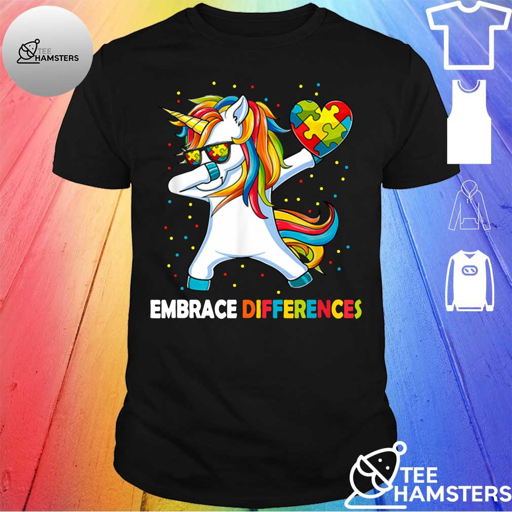 Dabbing Unicorn embrace different Autism shirt