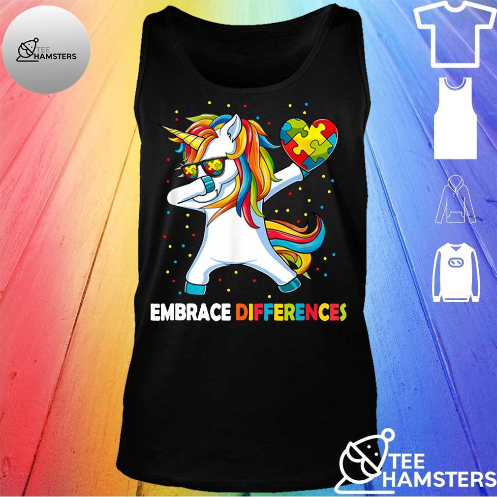 Dabbing Unicorn embrace different Autism tank top