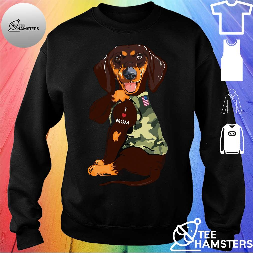 Dachshund I Love Mom With American Flag Shirt sweater