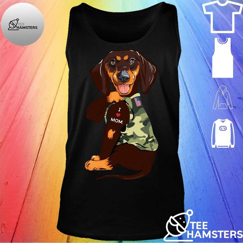 Dachshund I Love Mom With American Flag Shirt tank top