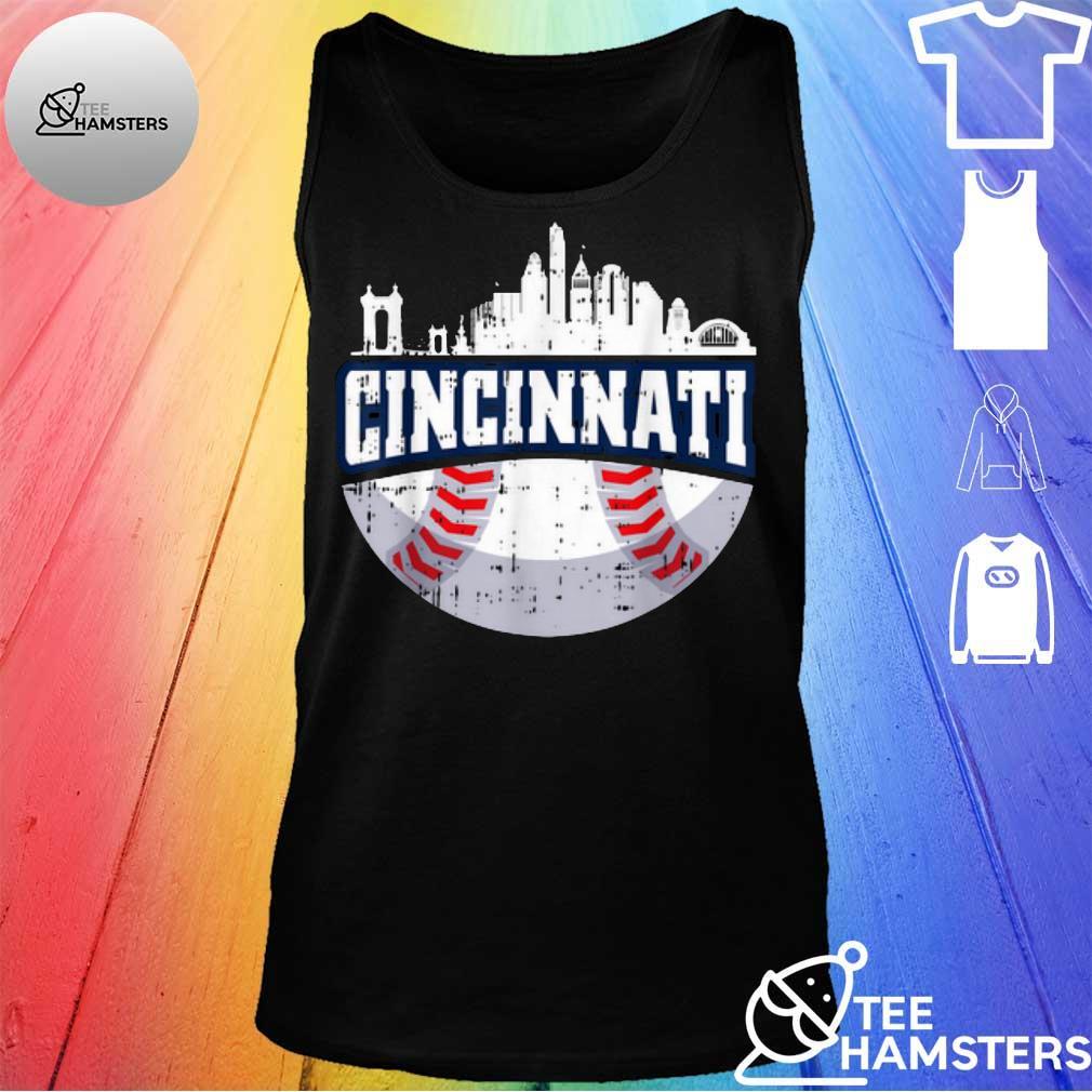 Hot Cincinnati Baseball Skyline Ohio Baseball tank top