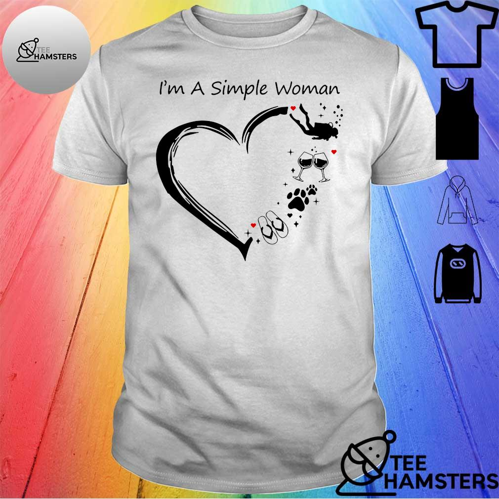 I'm a simple woman I love flip flops dogs wine diver shirt