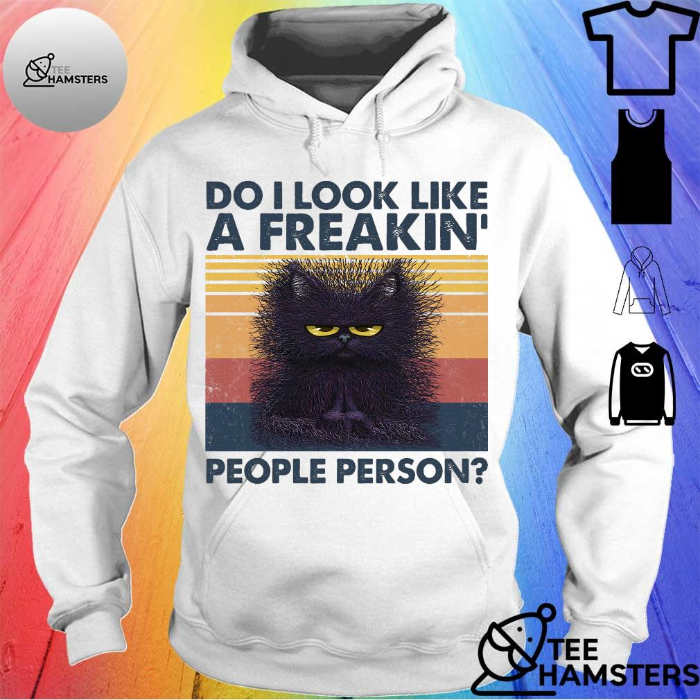 Black cat do i look like a freakin' people person vintage hoodie