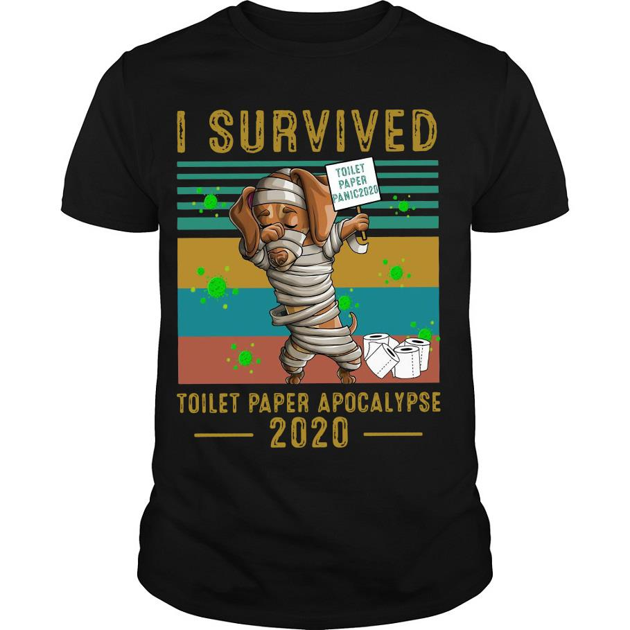 Dachshund I survived toilet paper apocalypse 2020 vintage shirt