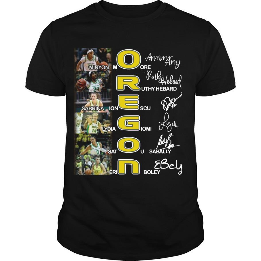 Oregon Women's Basketball signatures shirt