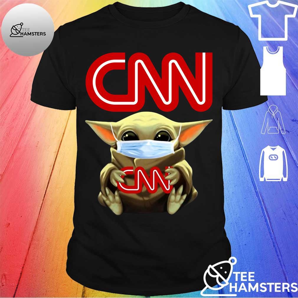 Baby Yoda face mask hug CNN shirt