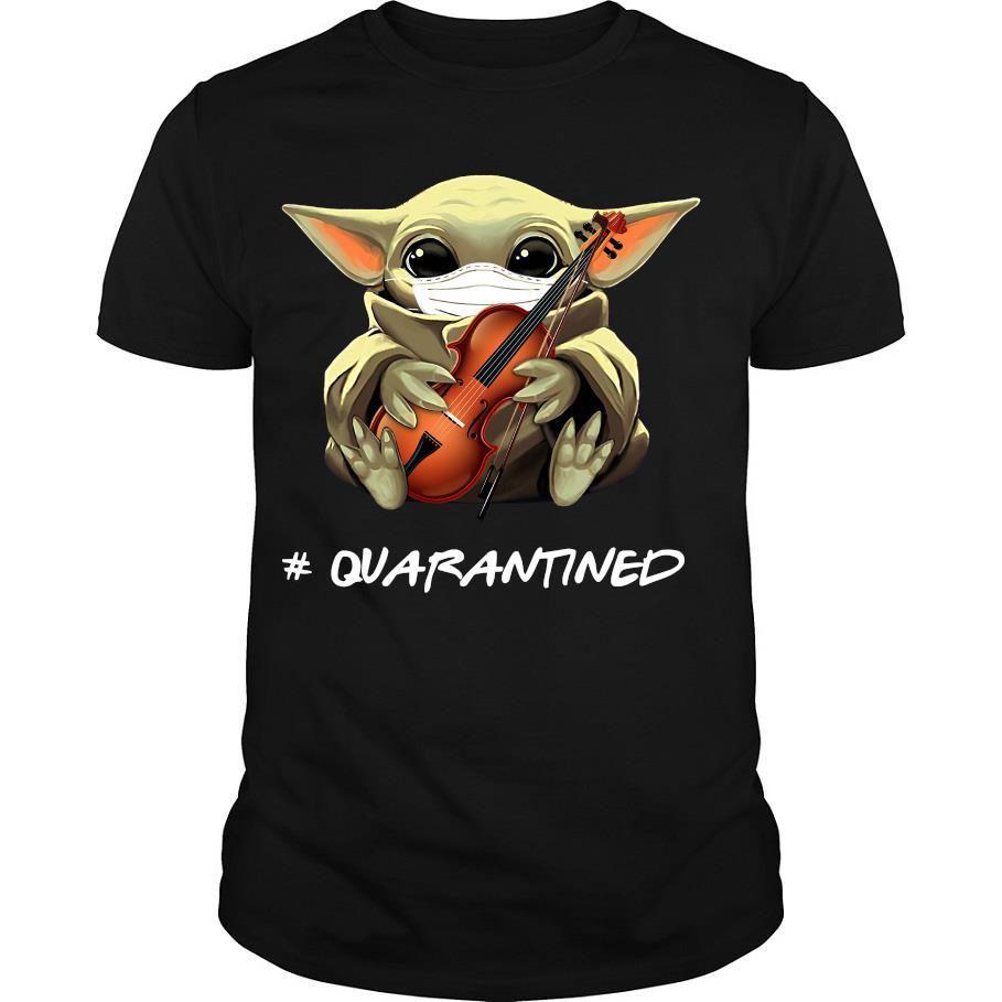 Baby Yoda face mask hug Violin #quarantined shirt