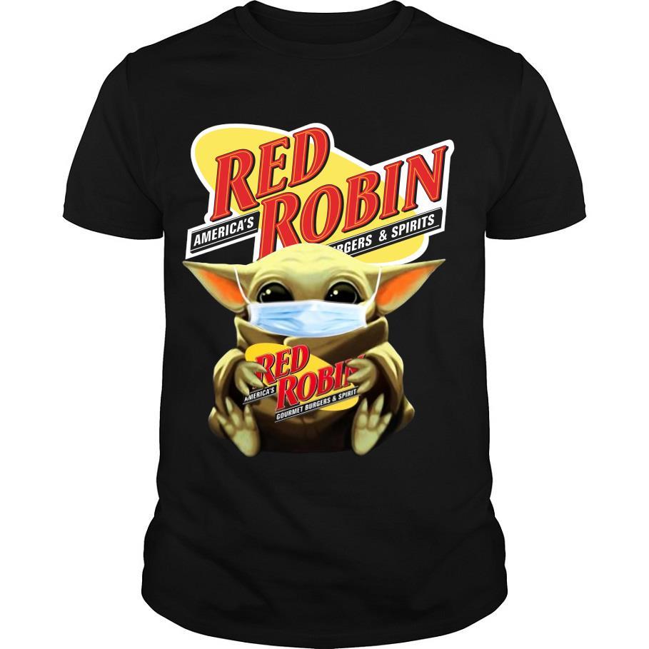 Baby Yoda Mask Hug Red Robin shirt