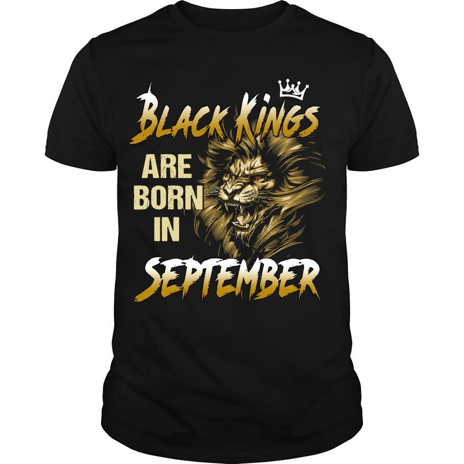 Lion Black kings are born in September shirt