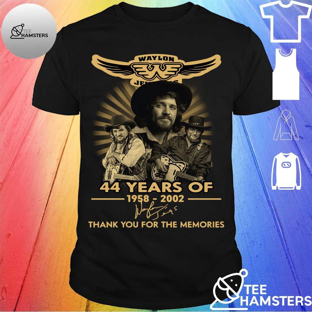 Waylon Jenning 44 years of 1958 2020 Thank you for the memories signature shirt