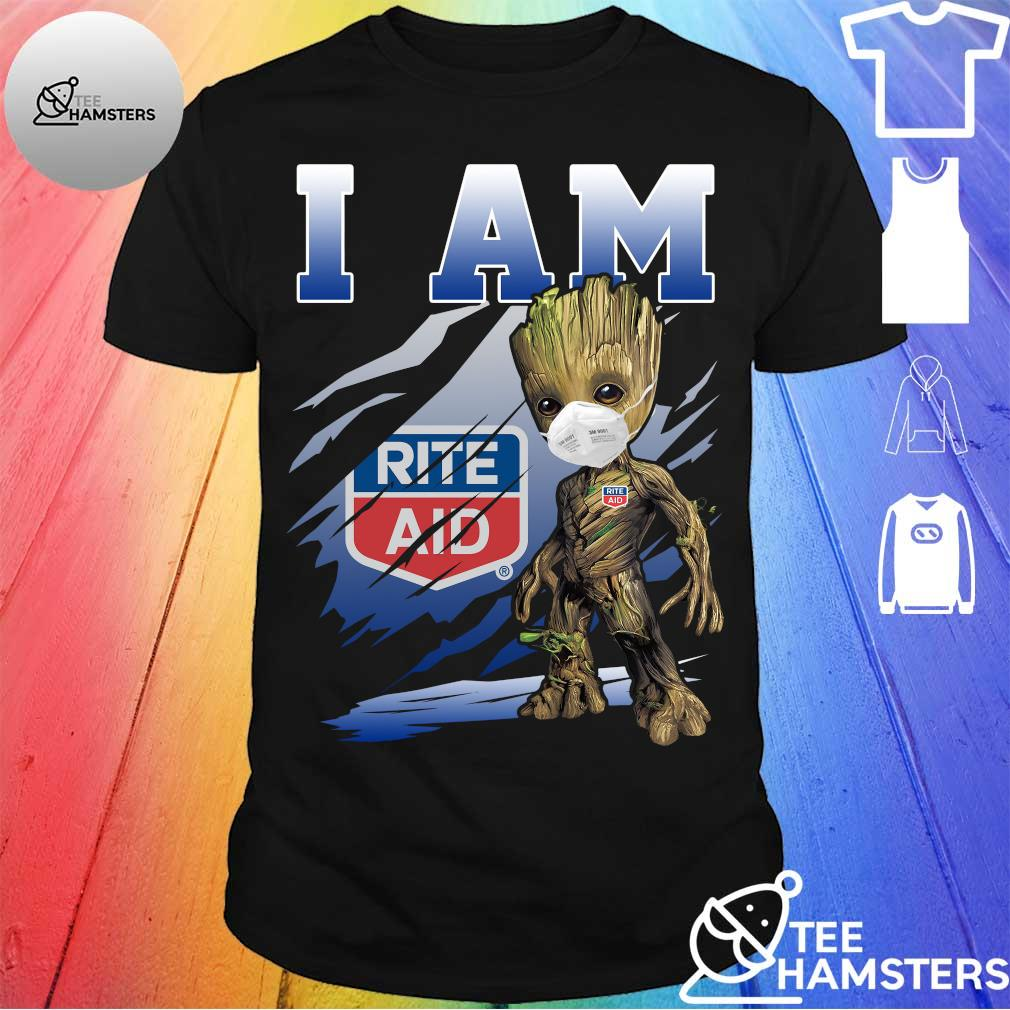 Baby Groot face mask I am Rite Aid shirt