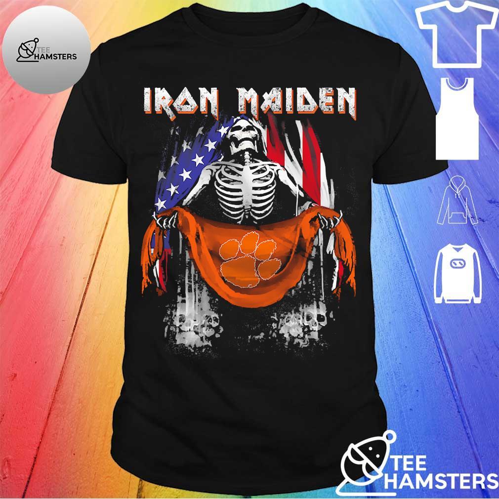 Skeleton Iron Maiden Clemson Tiger logo American flag independence day Shirt