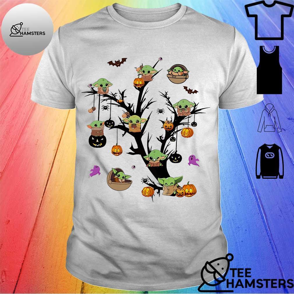 Baby Yoda halloween tree shirt