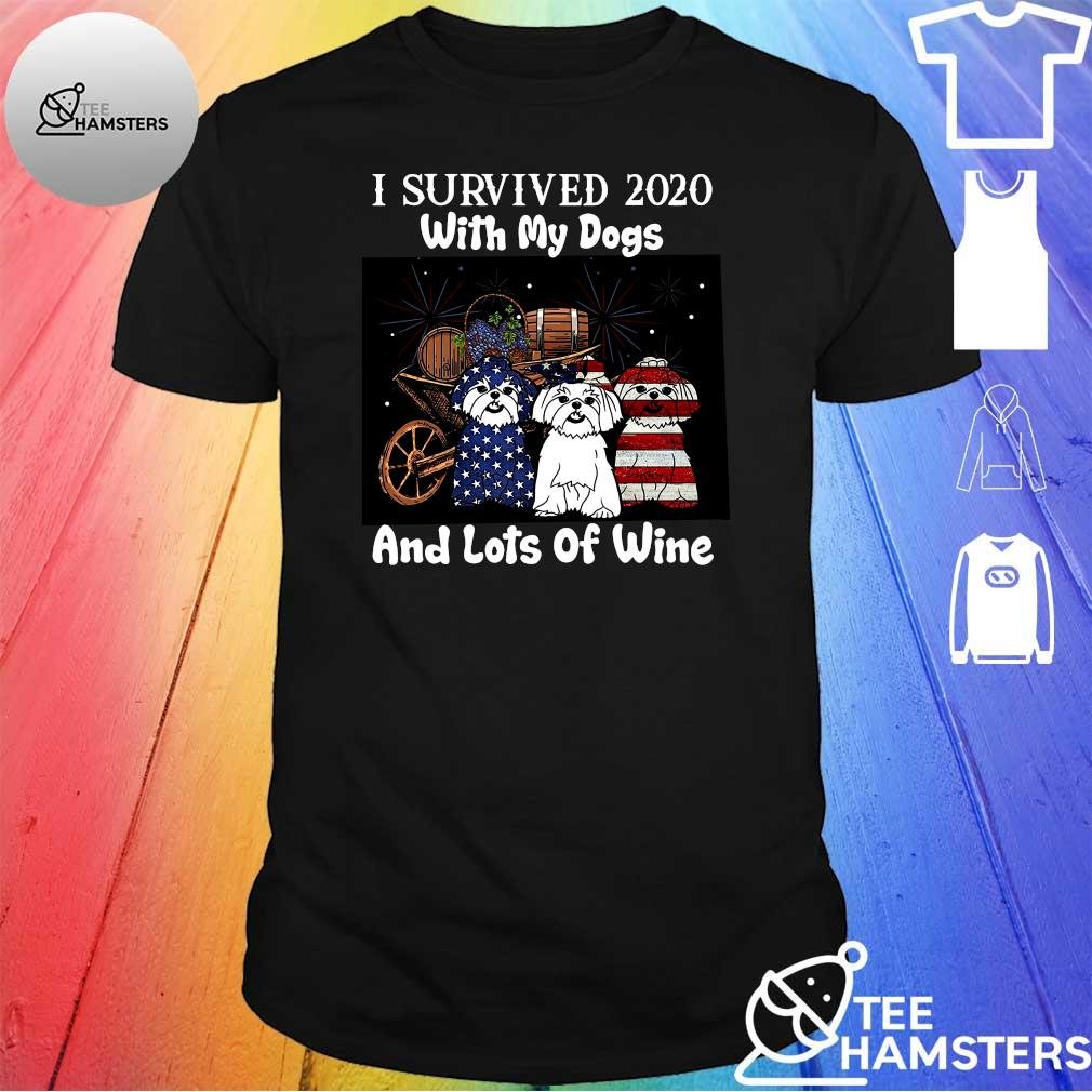 I survived 2020 with my dogs and lots of wine shirt