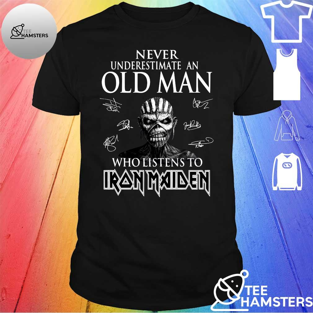 Never underestimate an old man who listens to Iron Maiden shirt